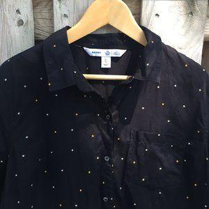 Old Navy black gold start button down - XL
